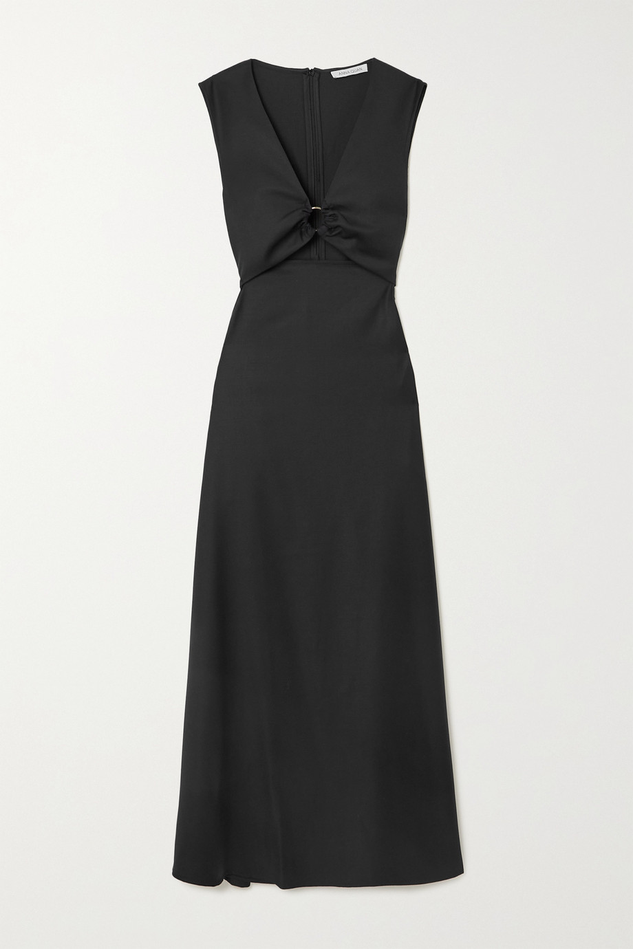 ANNA QUAN Verner cutout gathered wool-twill maxi dress