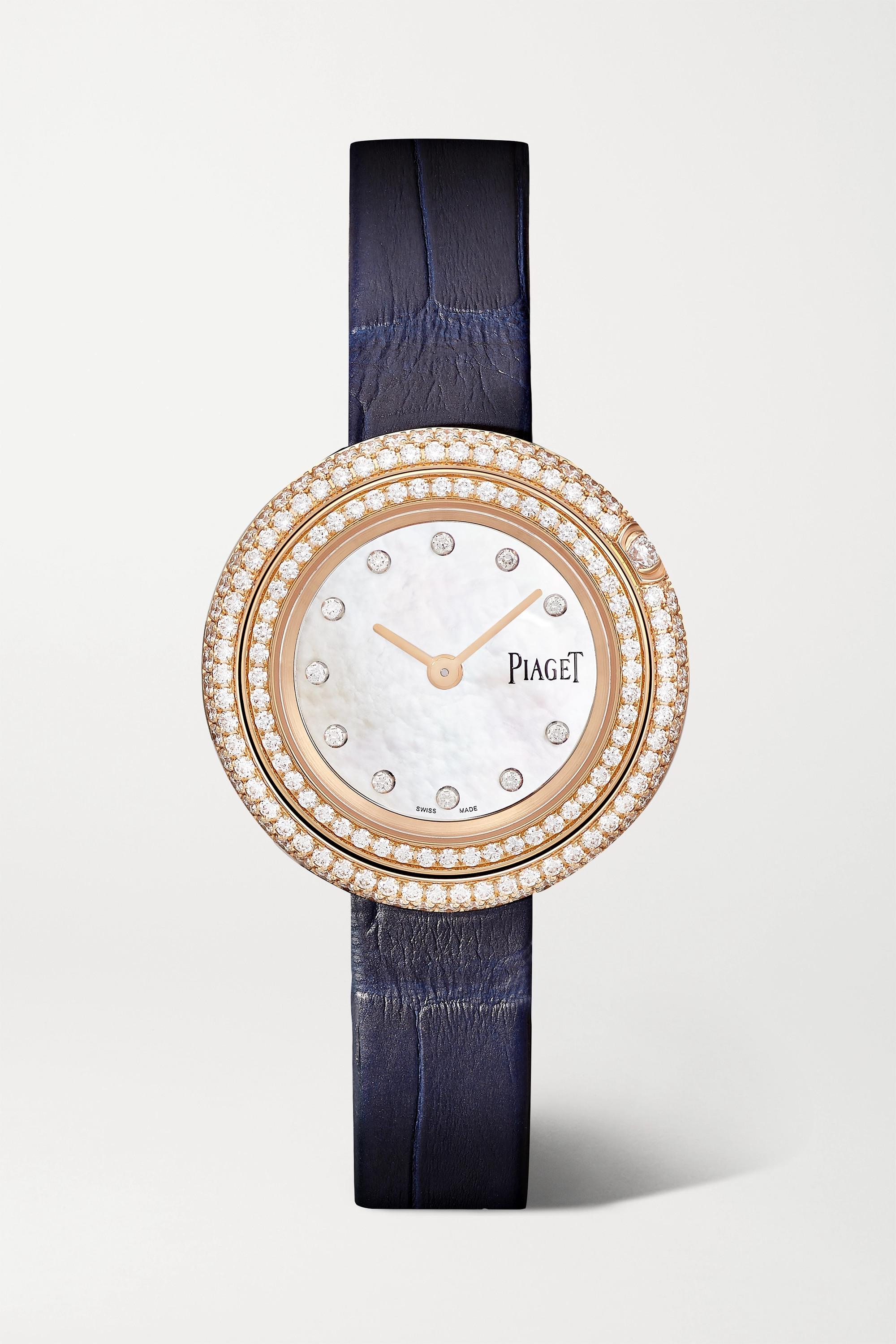 Piaget Possession 29 mm Uhr aus 18 Karat Roségold mit Diamanten und Alligatorlederarmband