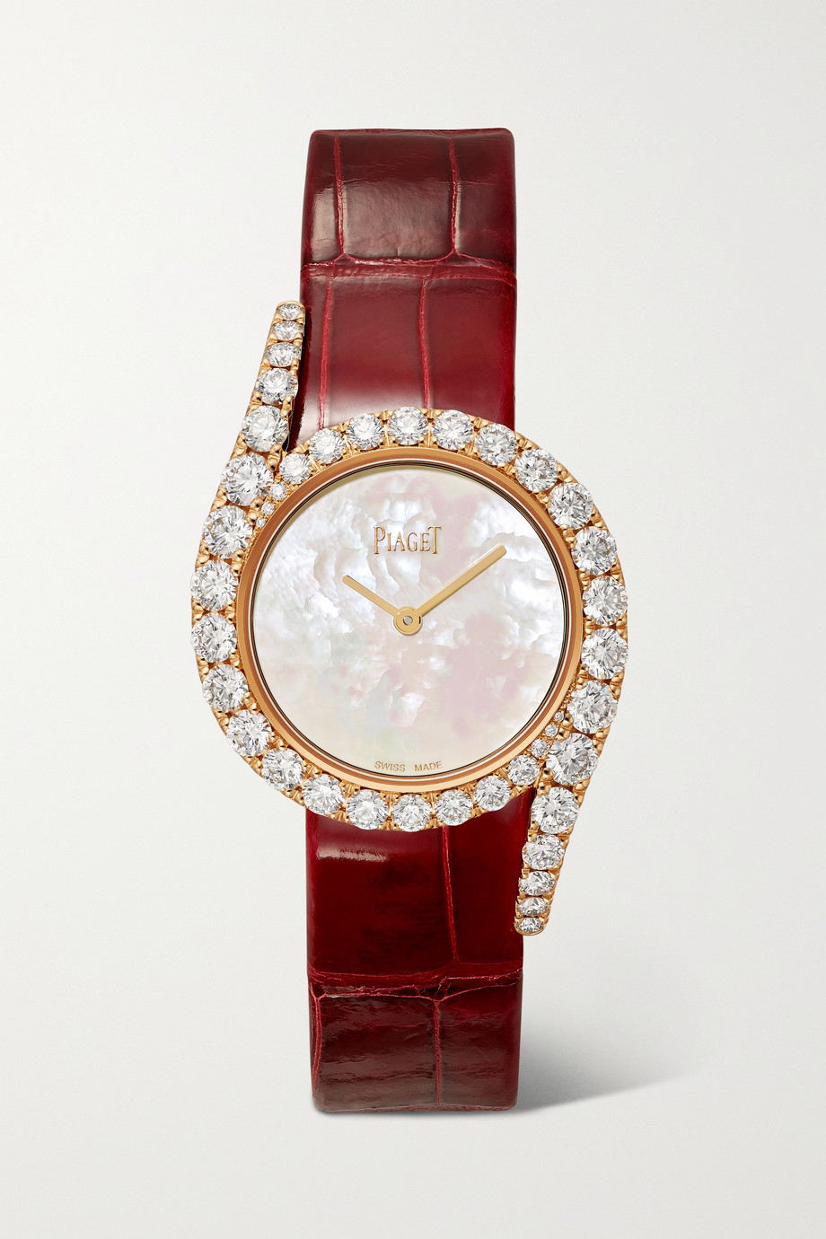 Piaget Montre en or rose 18 carats et diamants à bracelet en alligator Limelight Gala 32 mm