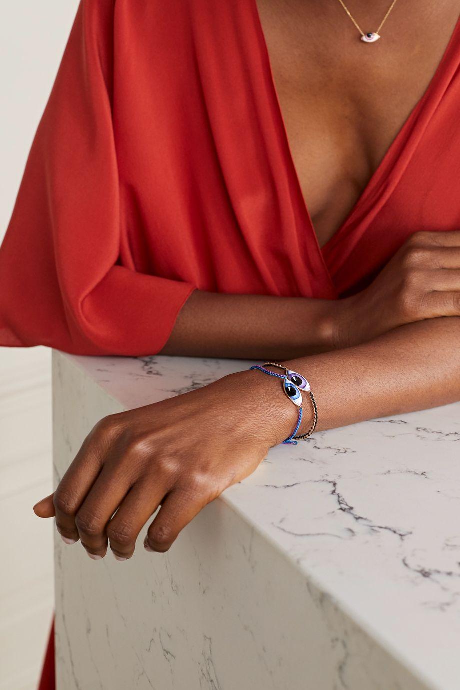Lito Tu Es Partout 14-karat gold, macramé and enamel bracelet