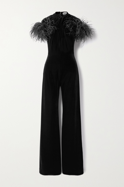 16ARLINGTON Kohana feather-trimmed knotted velvet jumpsuit