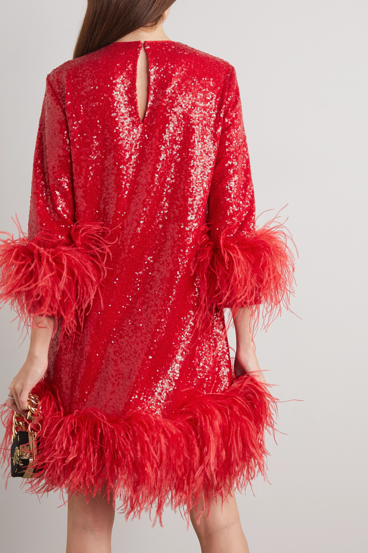 16ARLINGTON Billie feather-trimmed sequined crepe mini dress