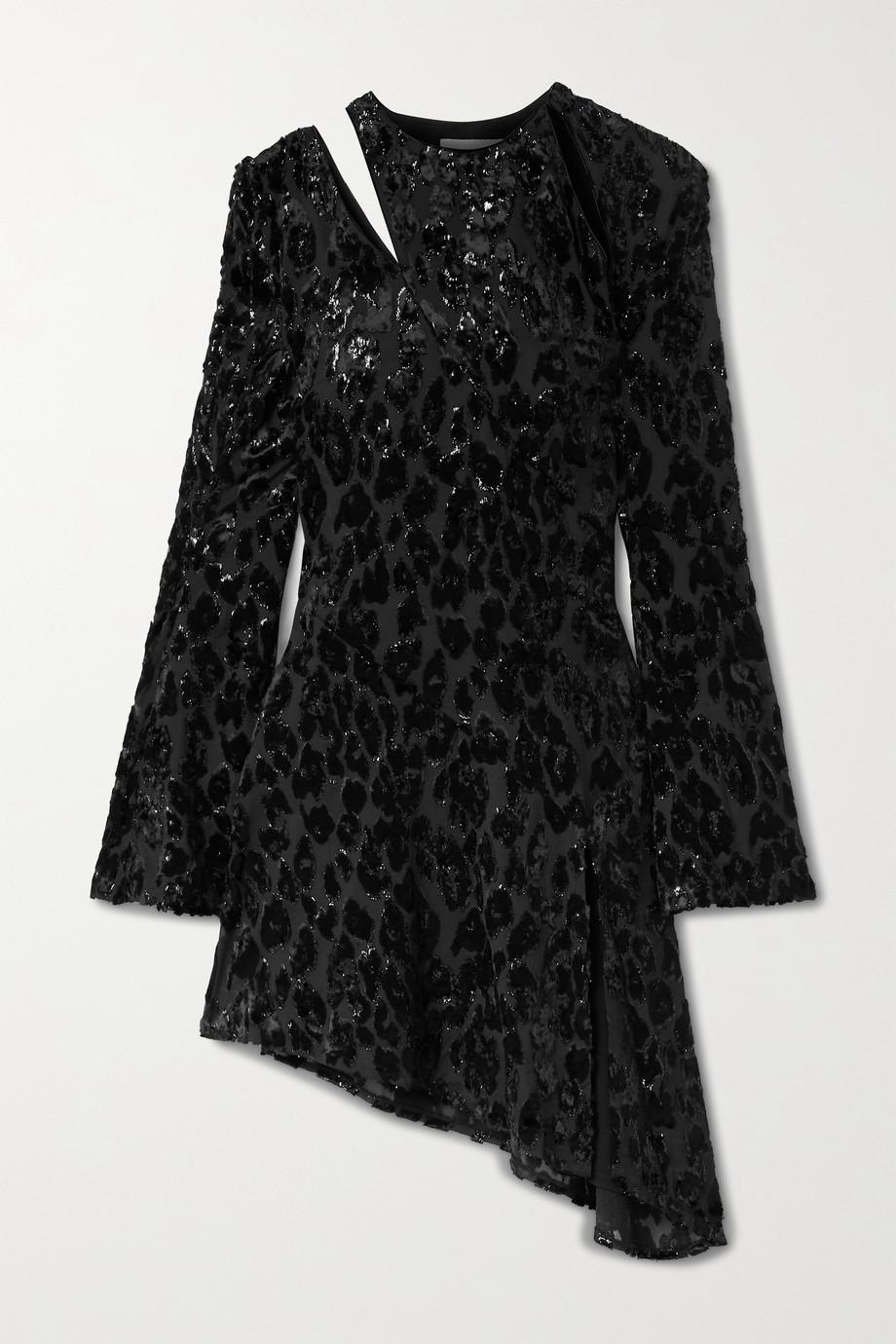 16ARLINGTON Ursinia asymmetric cutout metallic fil coupé chiffon mini dress