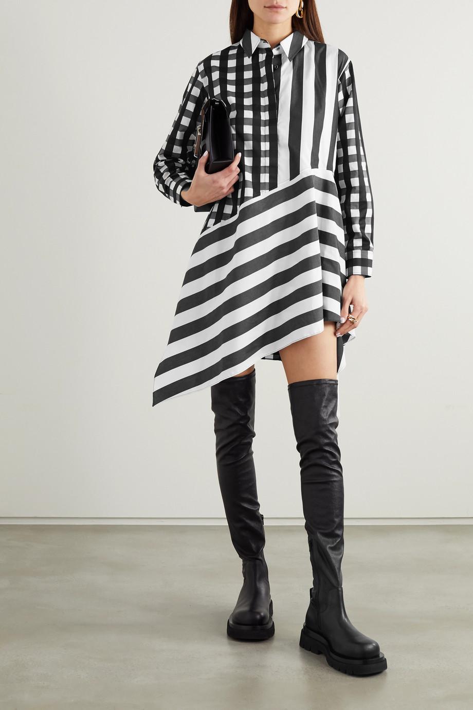 Marques' Almeida + NET SUSTAIN ReM'Ade asymmetrisches Hemdblusenkleid aus bedruckter Baumwollpopeline