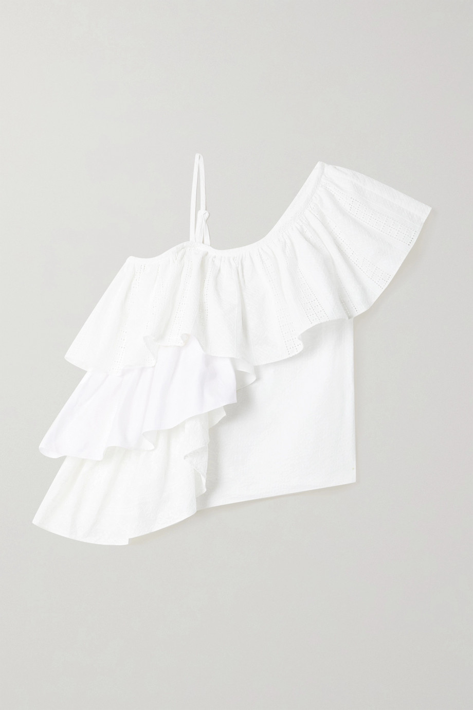 Marques' Almeida ReM'Ade by Marques' Almeida ruffled broderie anglaise cotton and seersucker top