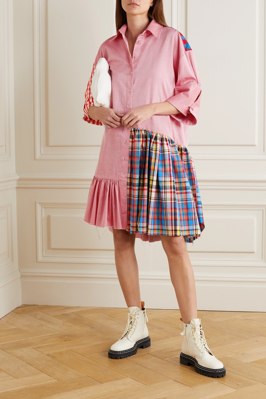 Marques' Almeida ReM'Ade by Marques' Almeida oversized patchwork twill shirt dress