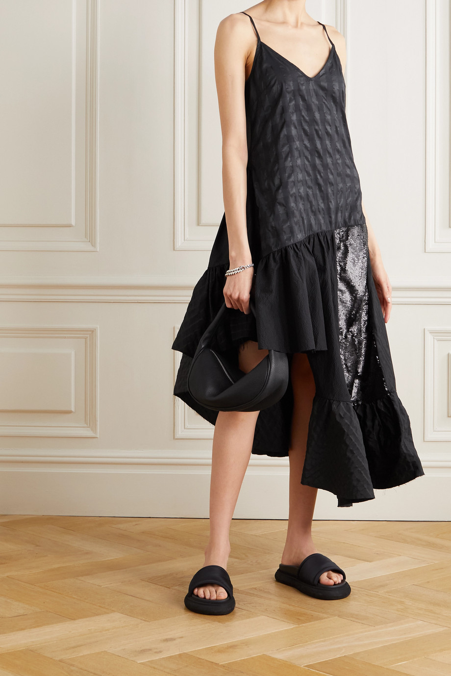 Marques' Almeida ReM'Ade by Marques' Almeida patchwork cotton-seersucker, poplin and sequined tulle dress
