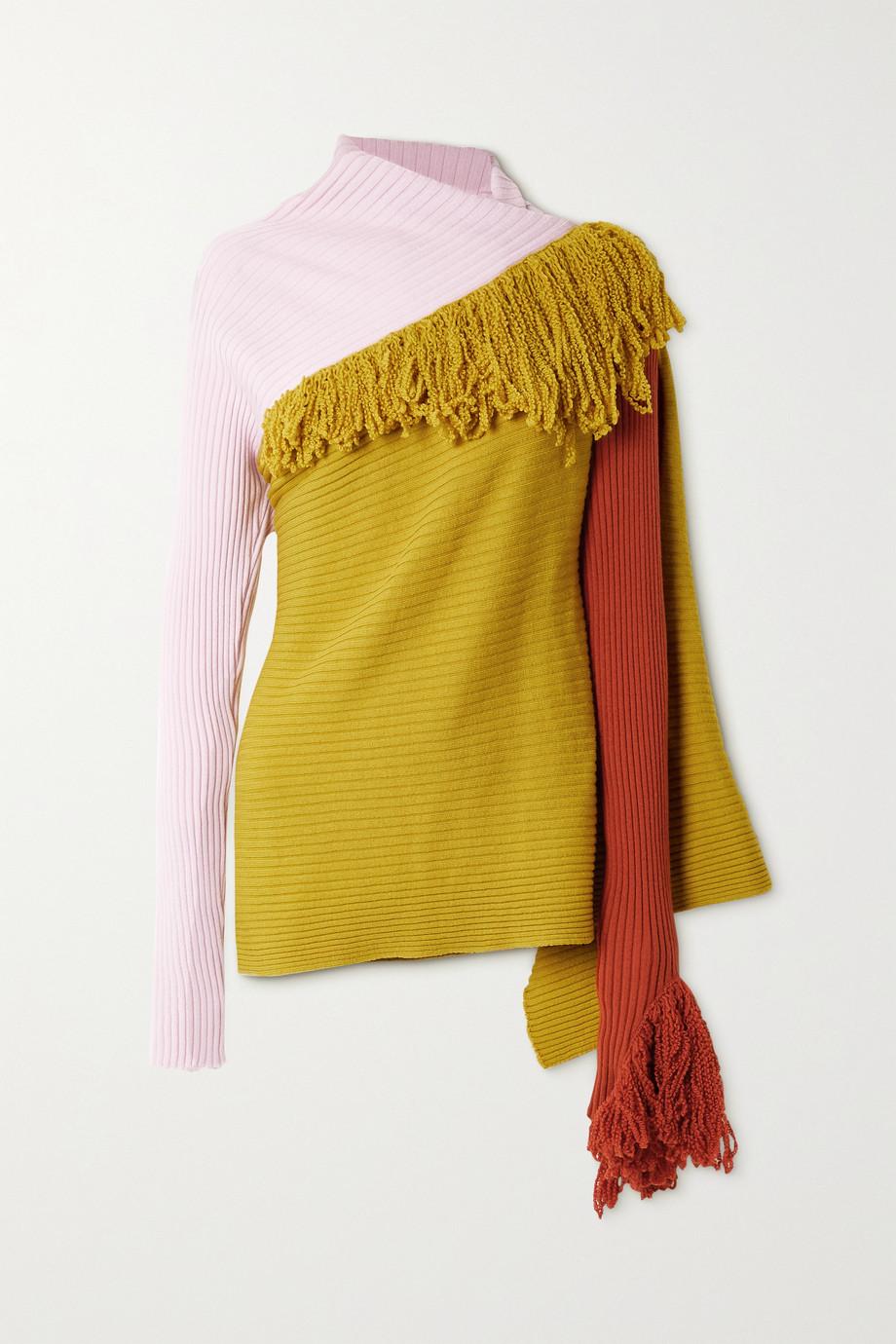 Marques' Almeida ReM'Ade by Marques' Almeida fringed ribbed merino wool sweater
