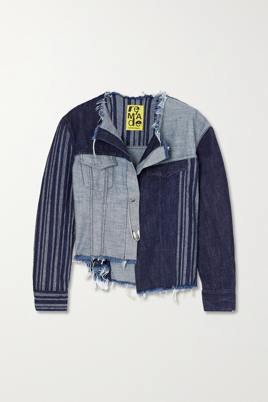 Marques' Almeida + NET SUSTAIN ReM'Ade cropped asymmetric patchwork denim jacket