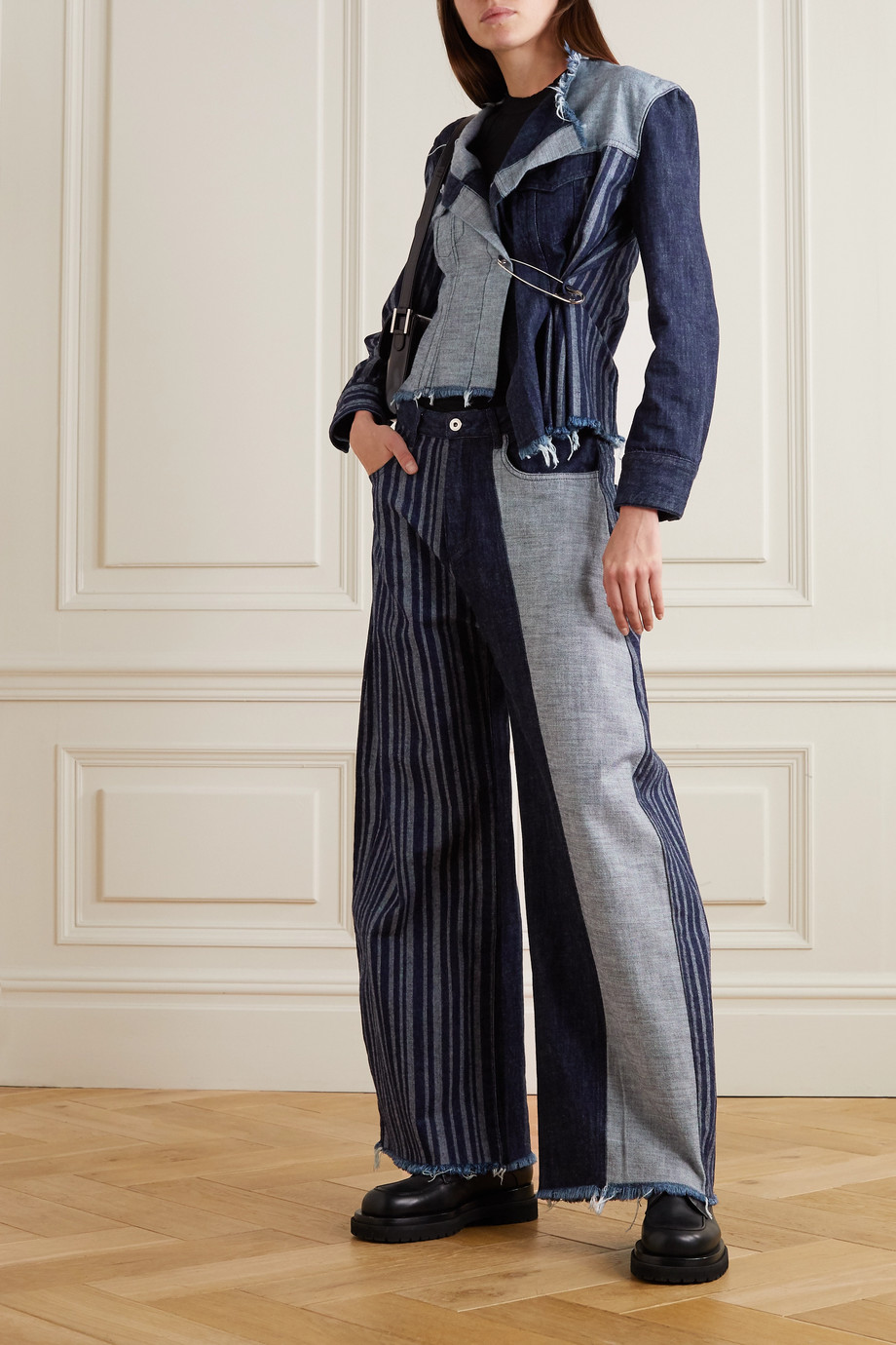 Marques' Almeida + NET SUSTAIN ReM'Ade cropped asymmetric patchwork denim jacket
