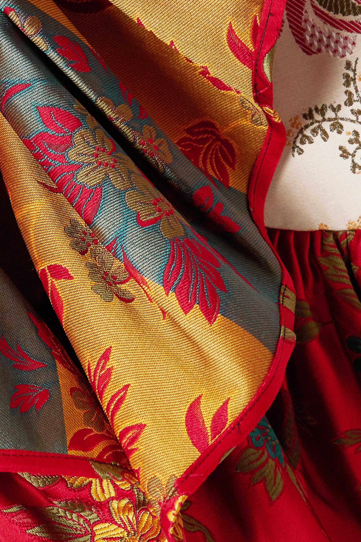 Marques' Almeida ReM'Ade by Marques' Almeida asymmetric ruffled patchwork brocade skirt