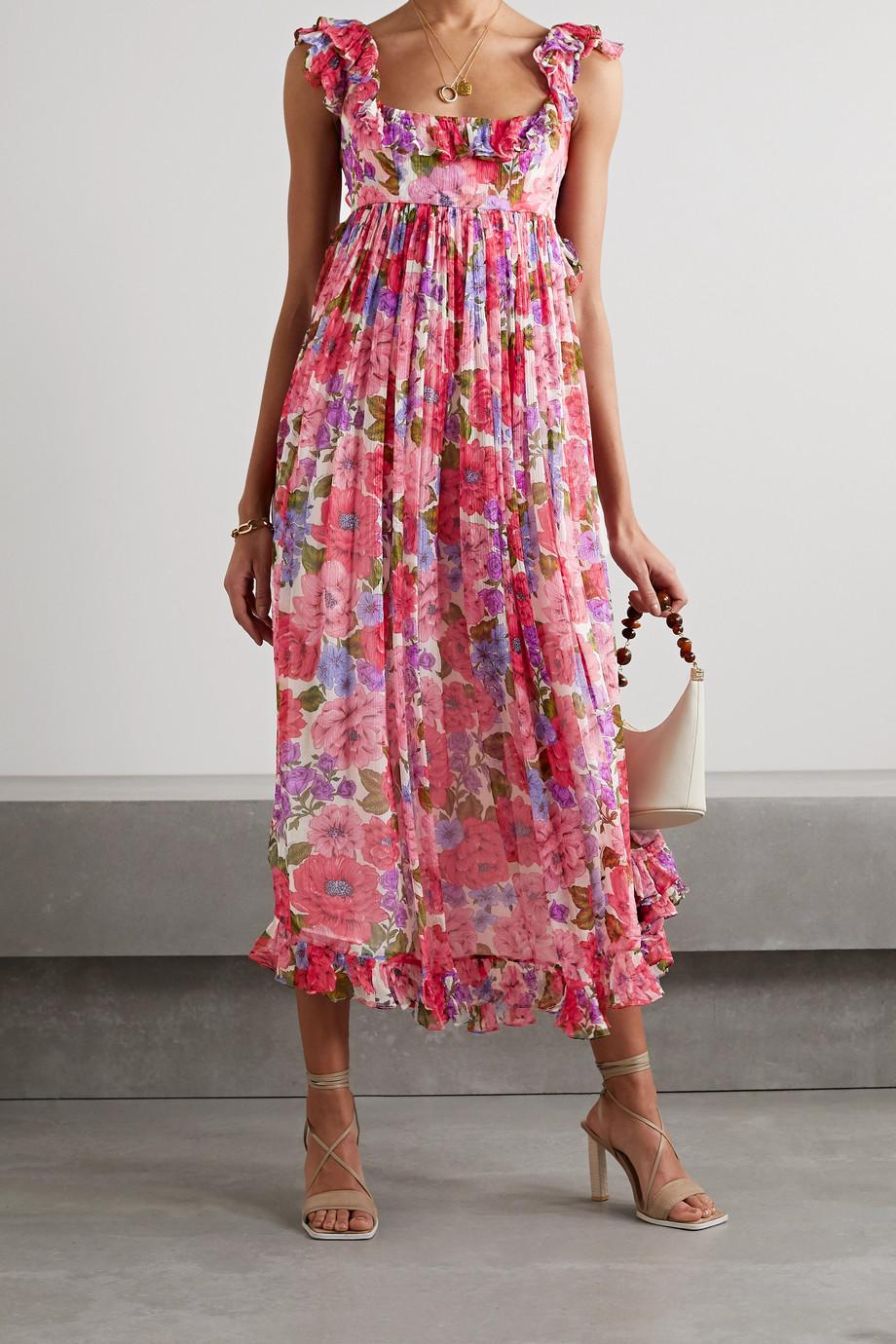Zimmermann Poppy open-back ruffled floral-print silk-crepon midi dress