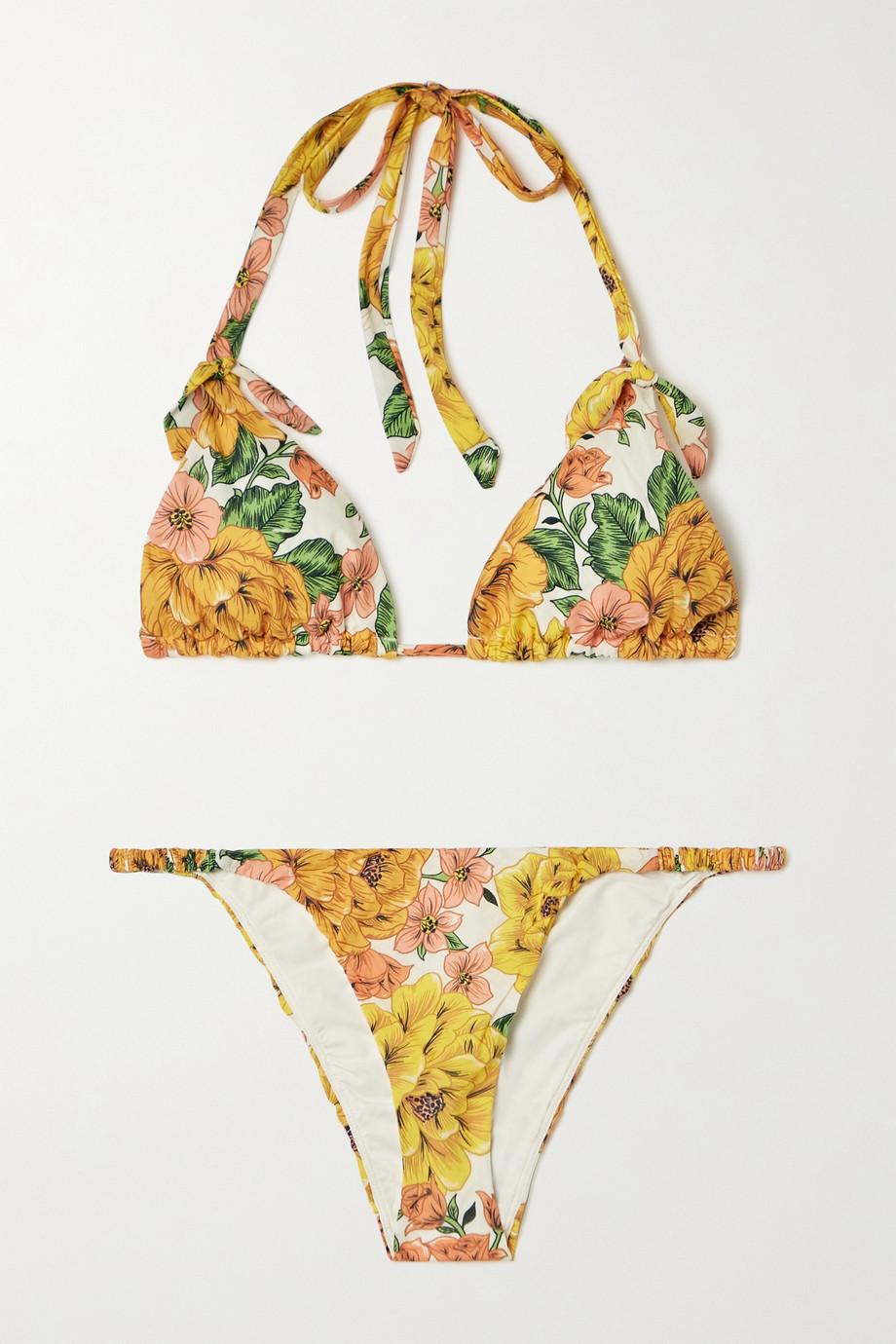 Zimmermann Poppy floral-print cotton triangle halterneck bikini