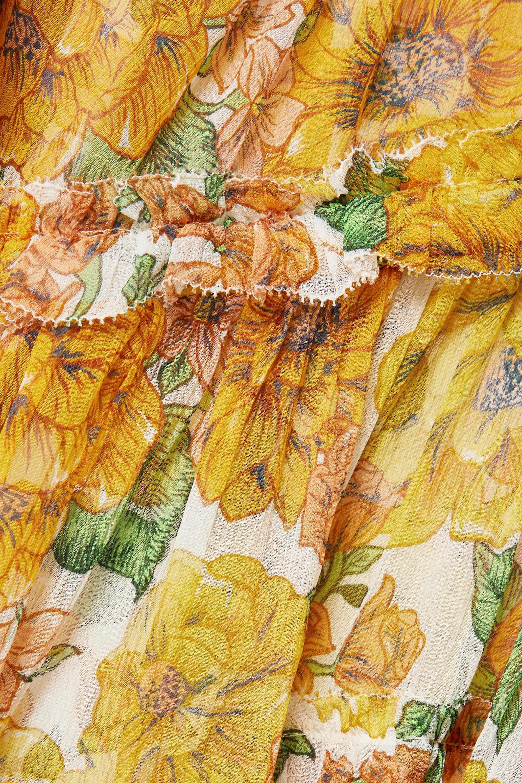 Zimmermann Poppy Minikleid aus Seidenkrepon mit Blumenprint und Rüschen