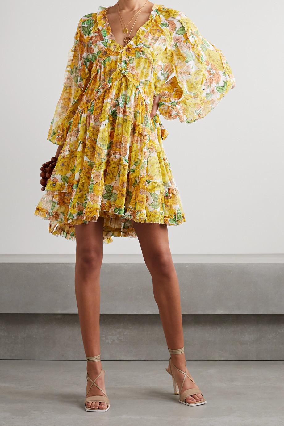 Zimmermann Mini-robe en crépon de soie à imprimé fleuri et à volants Poppy