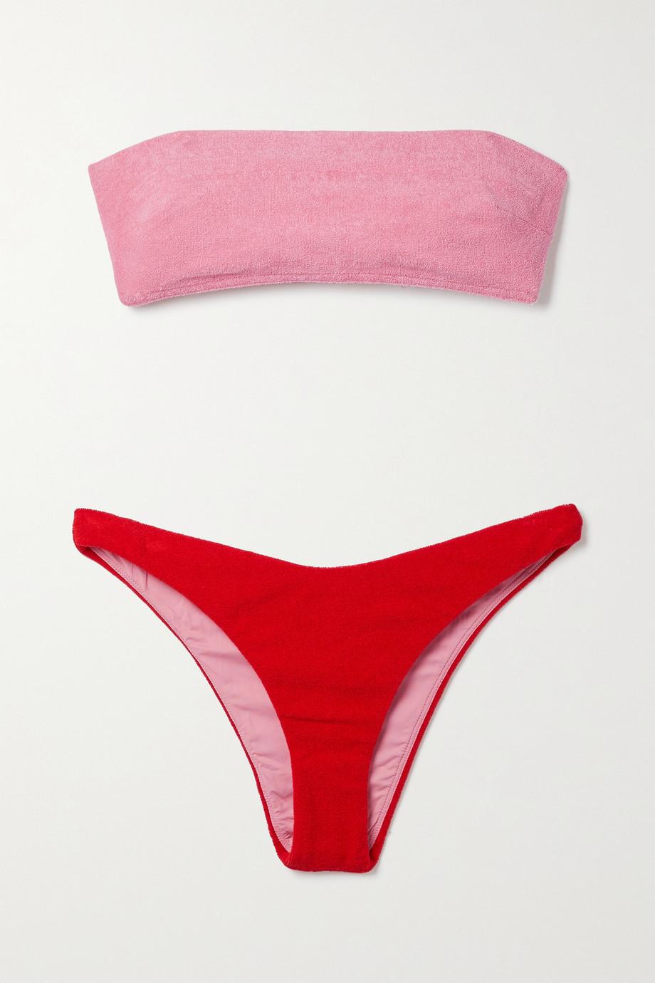 Zimmermann Bikini bandeau en molleton de coton mélangé bicolore Poppy