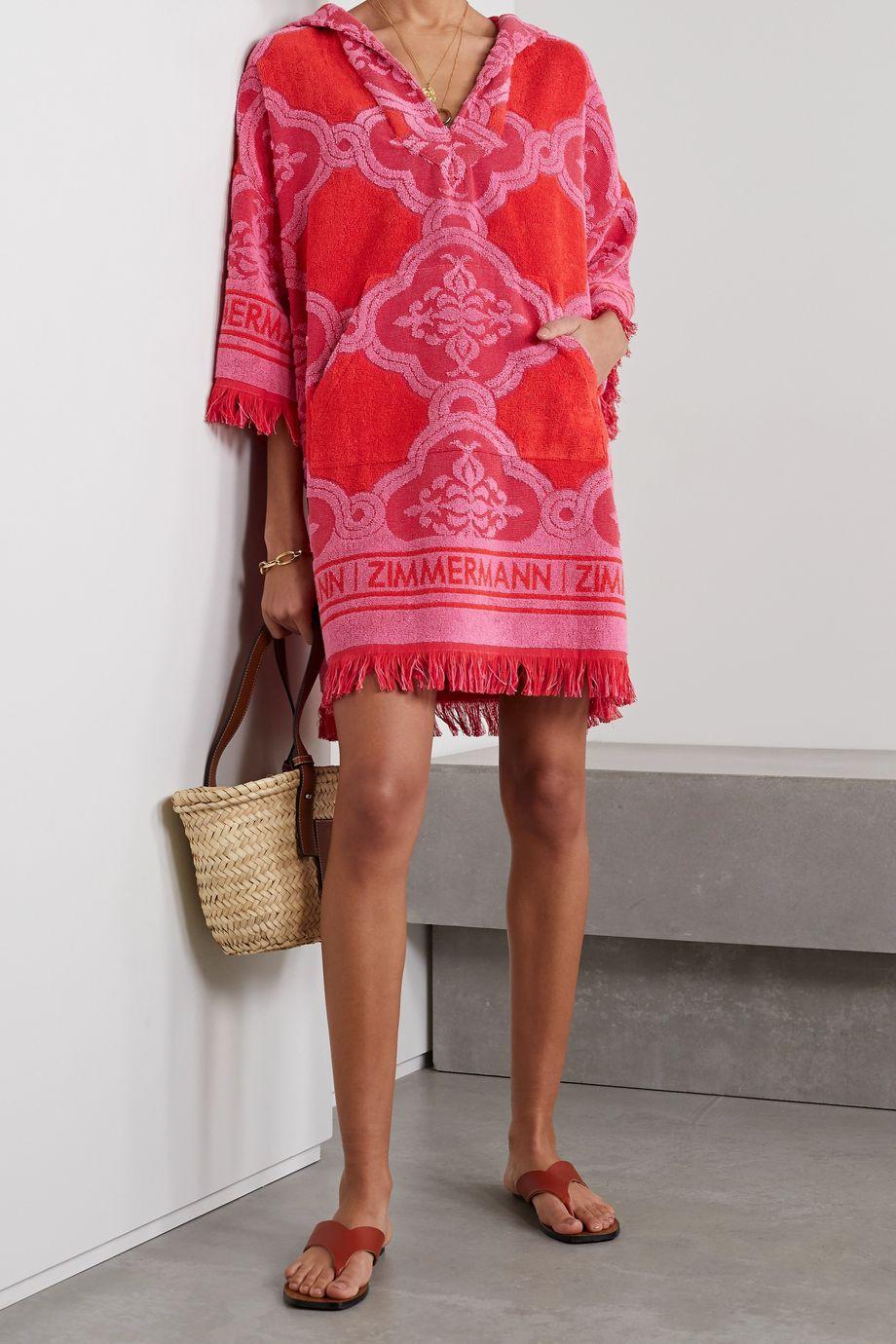 Zimmermann Poppy Minikleid aus Baumwollfrottee mit Jacquard-Muster, Kapuze und Fransen