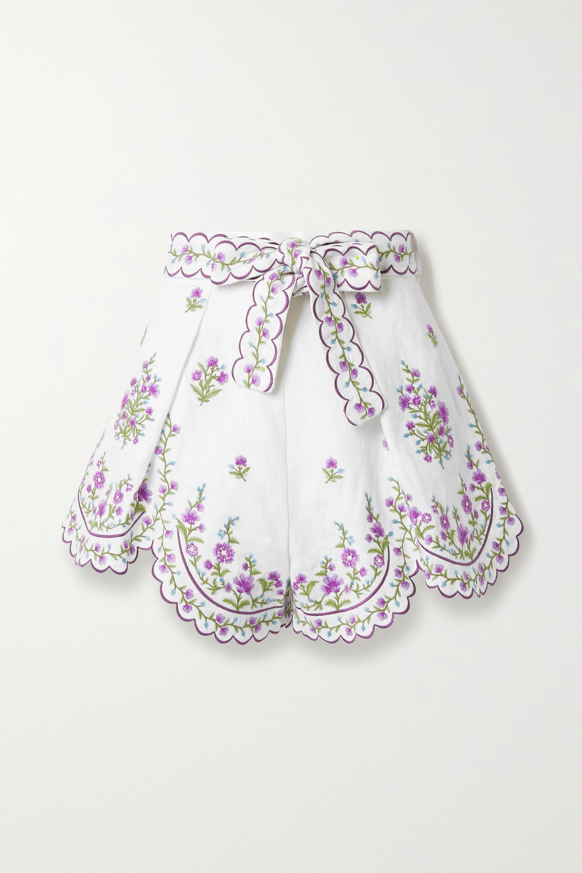 Zimmermann Poppy belted scalloped embroidered linen shorts