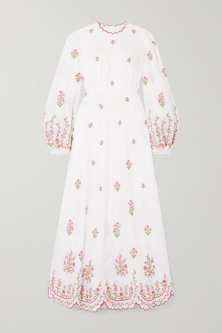 Zimmermann Poppy scalloped embroidered linen midi dress
