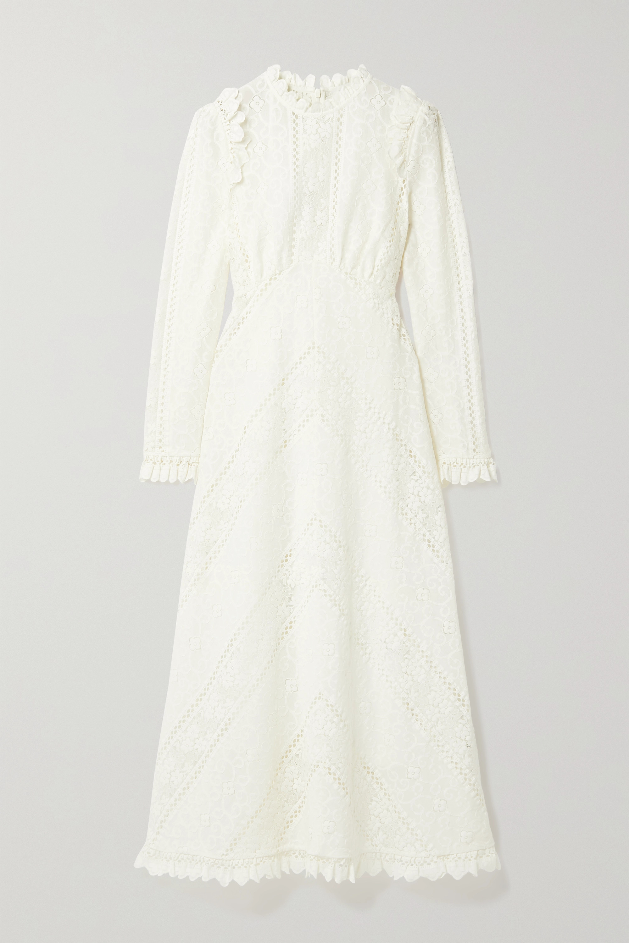 Zimmermann Brighton paneled cotton-blend lace midi dress