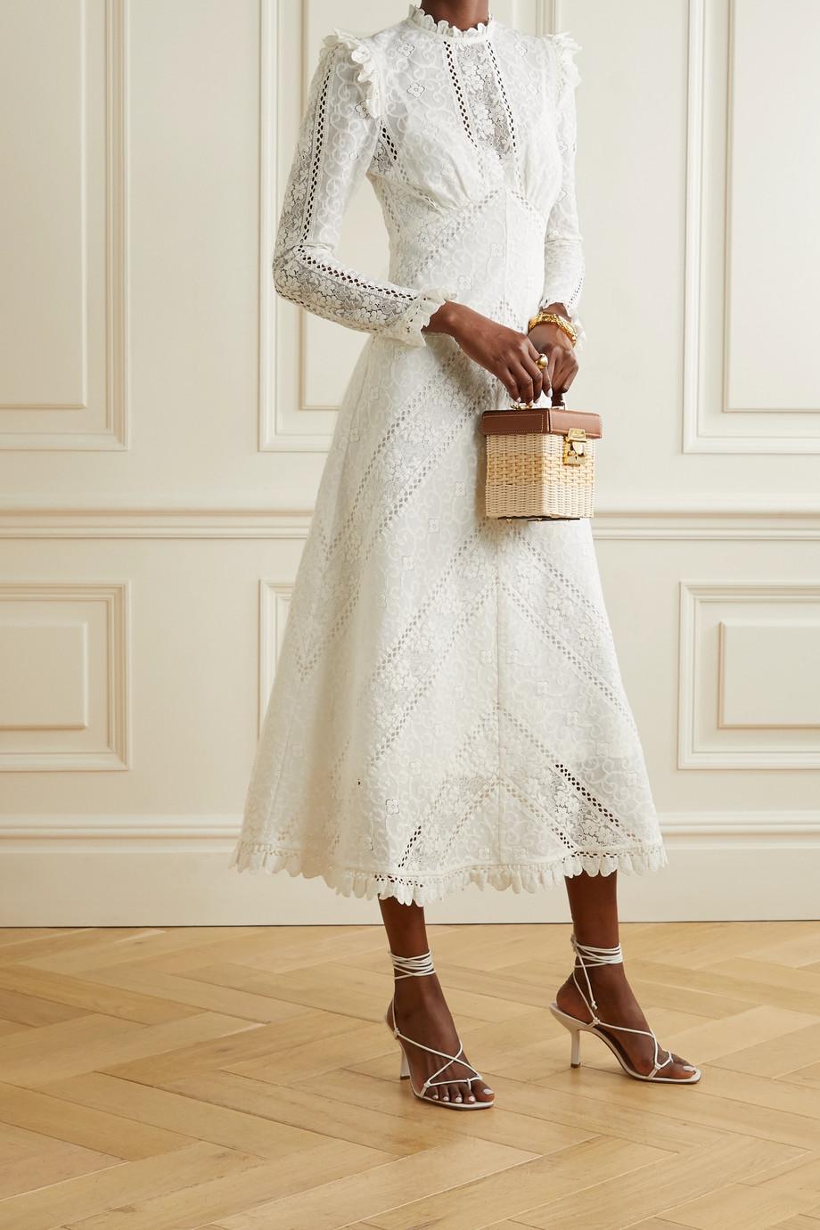 Zimmermann Brighton paneled cotton-blend lace midi dress