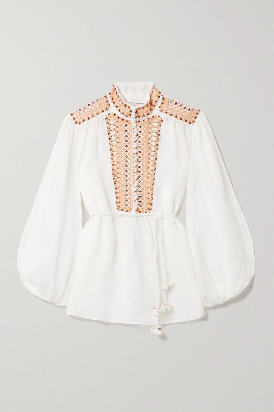 Zimmermann Brighton embellished embroidered ramie blouse