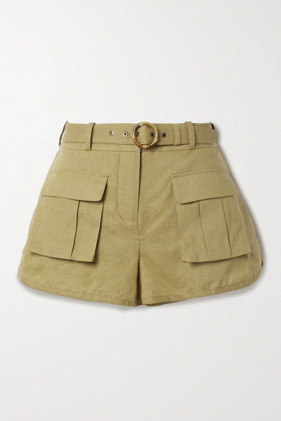 Zimmermann Brighton belted linen and cotton-blend shorts