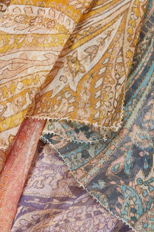Zimmermann Brighton tiered patchwork paisley-print silk-crepon midi dress