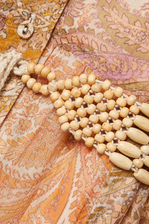 Zimmermann Brighton Maxi-Hemdblusenkleid aus Seidenkrepon mit Paisley-Print und Bindegürtel in Patchwork-Optik