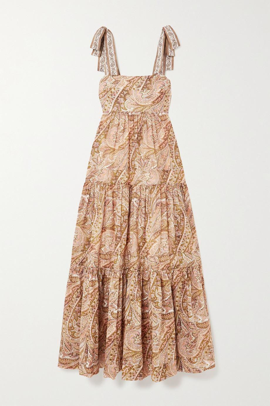 Zimmermann Brighton tie-detailed tiered paisley-print cotton maxi dress