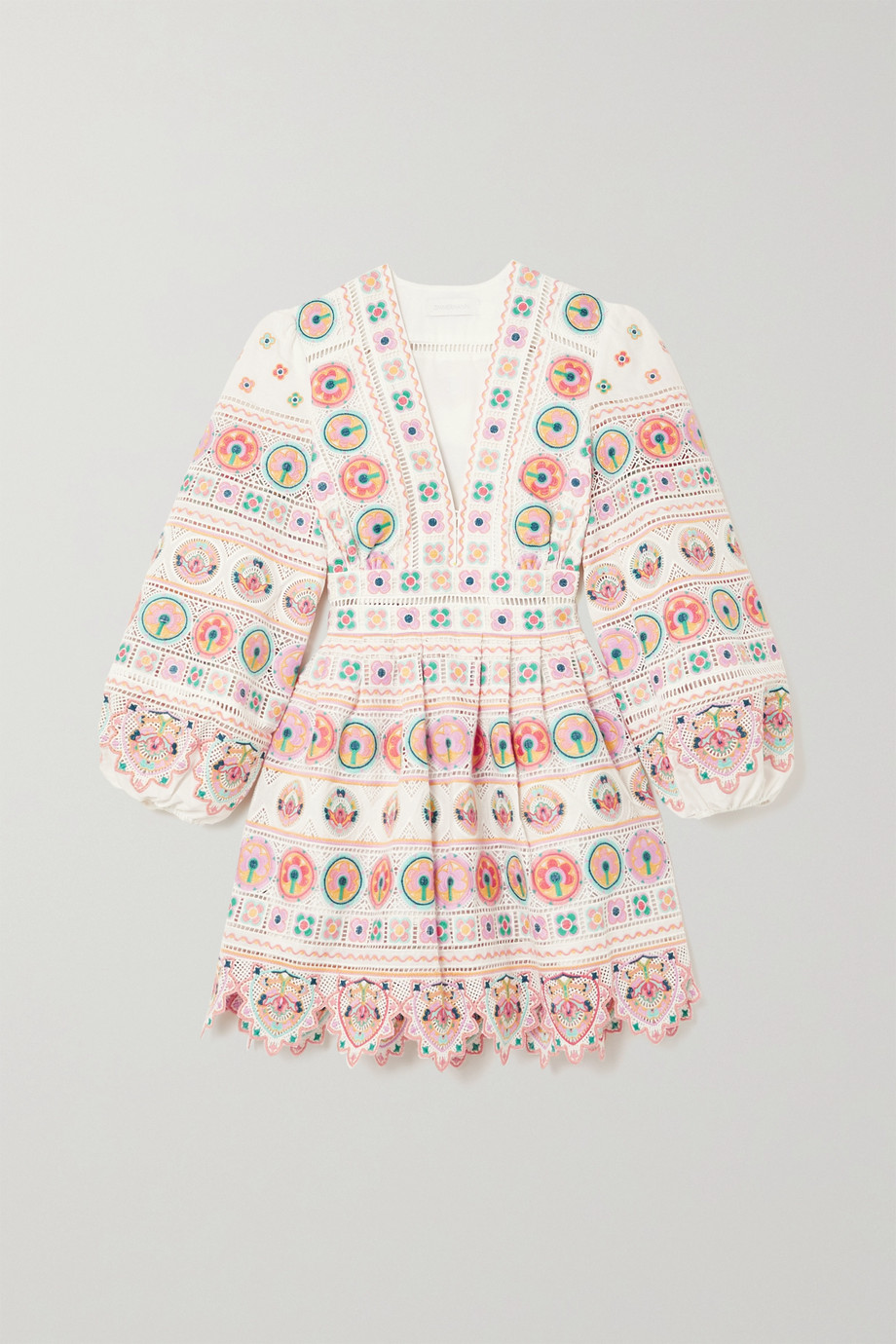 Zimmermann Brighton scalloped embroidered cotton mini dress