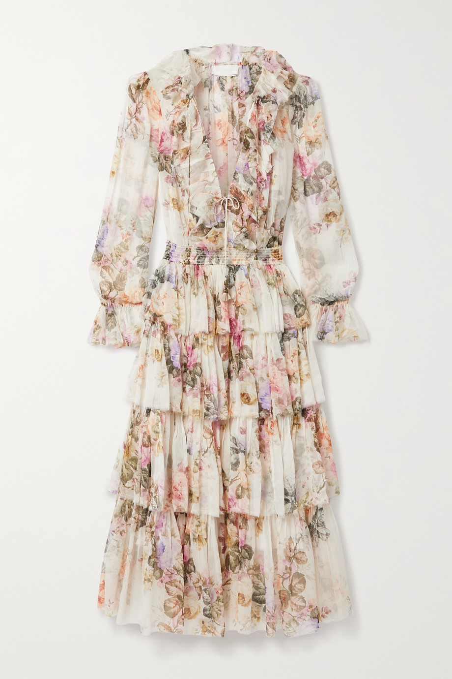 Zimmermann Brighton ruffled floral-print silk-crepon midi dress