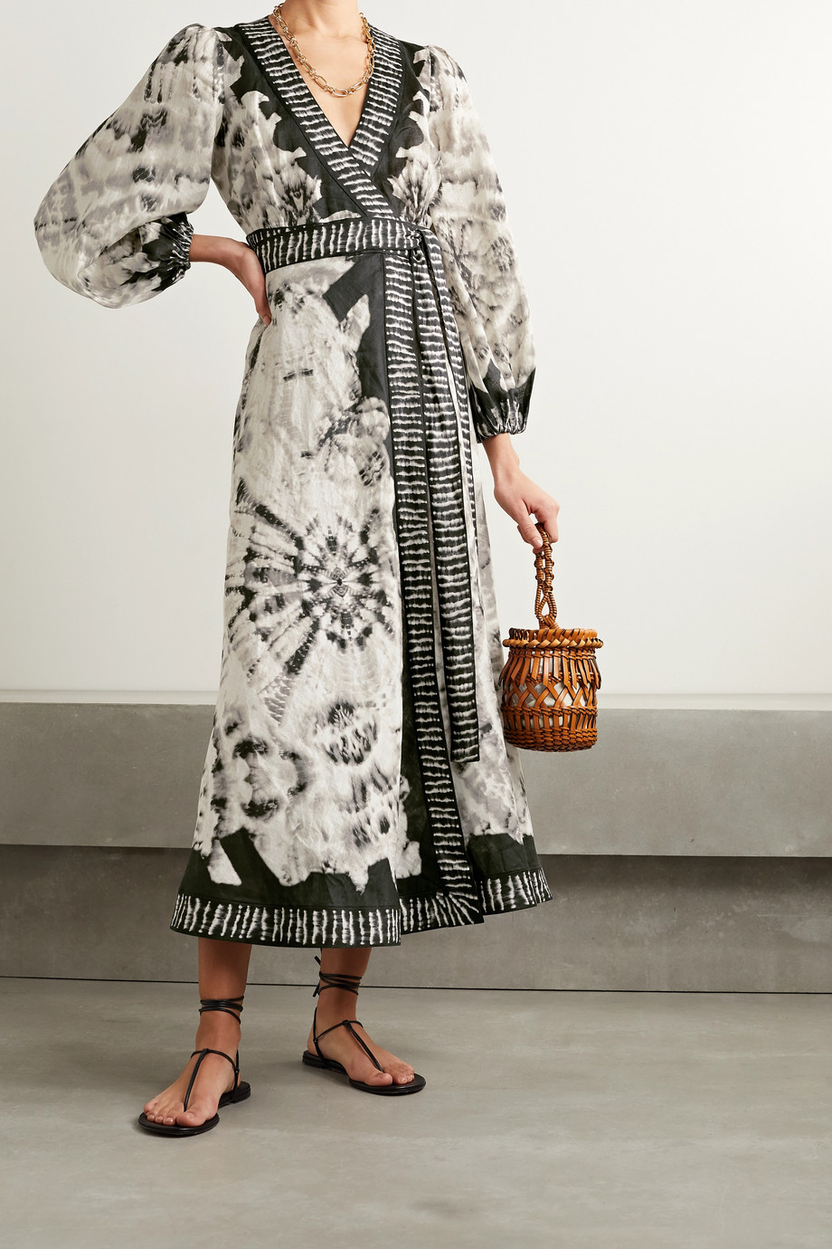 Zimmermann Lulu tie-dyed linen wrap midi dress