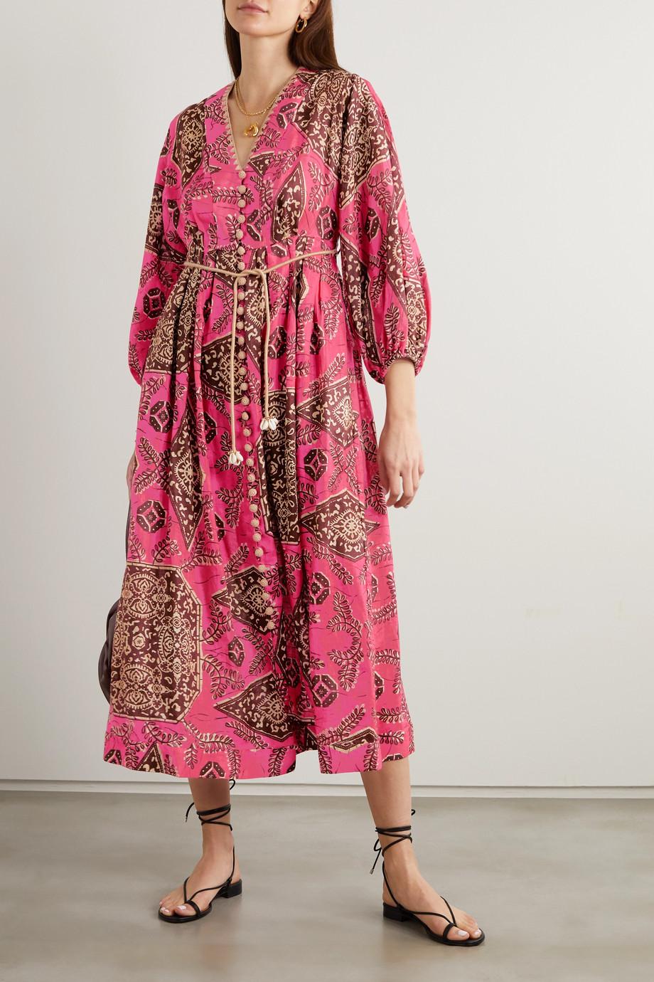 Zimmermann Lulu belted crochet-trimmed printed linen midi dress
