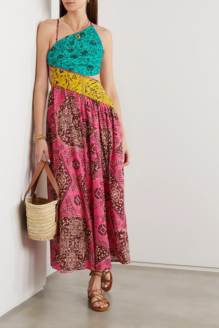 Zimmermann Lulu asymmetric open-back printed cotton-voile midi dress