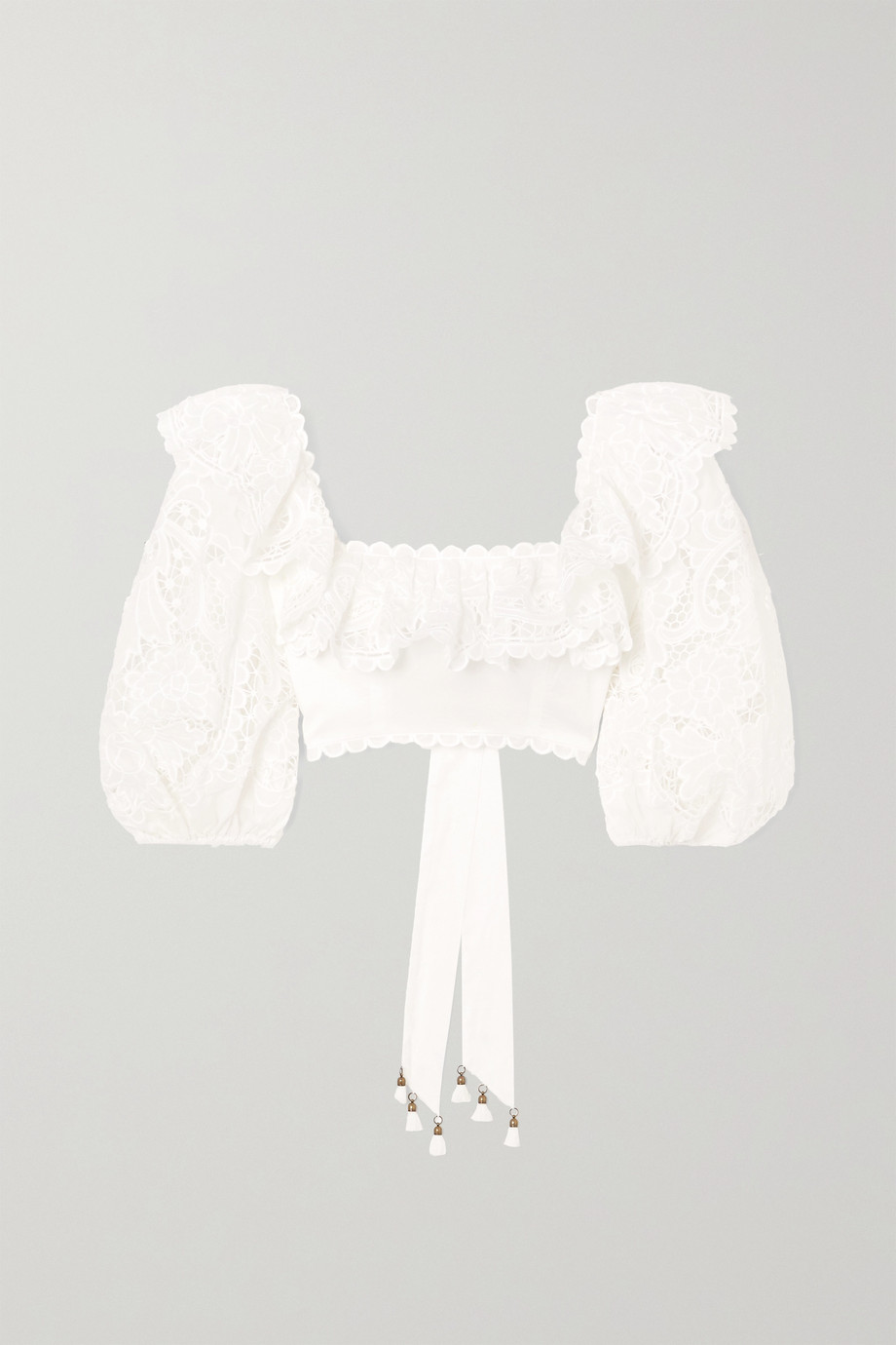 Zimmermann Lulu cropped ruffled broderie anglaise cotton top