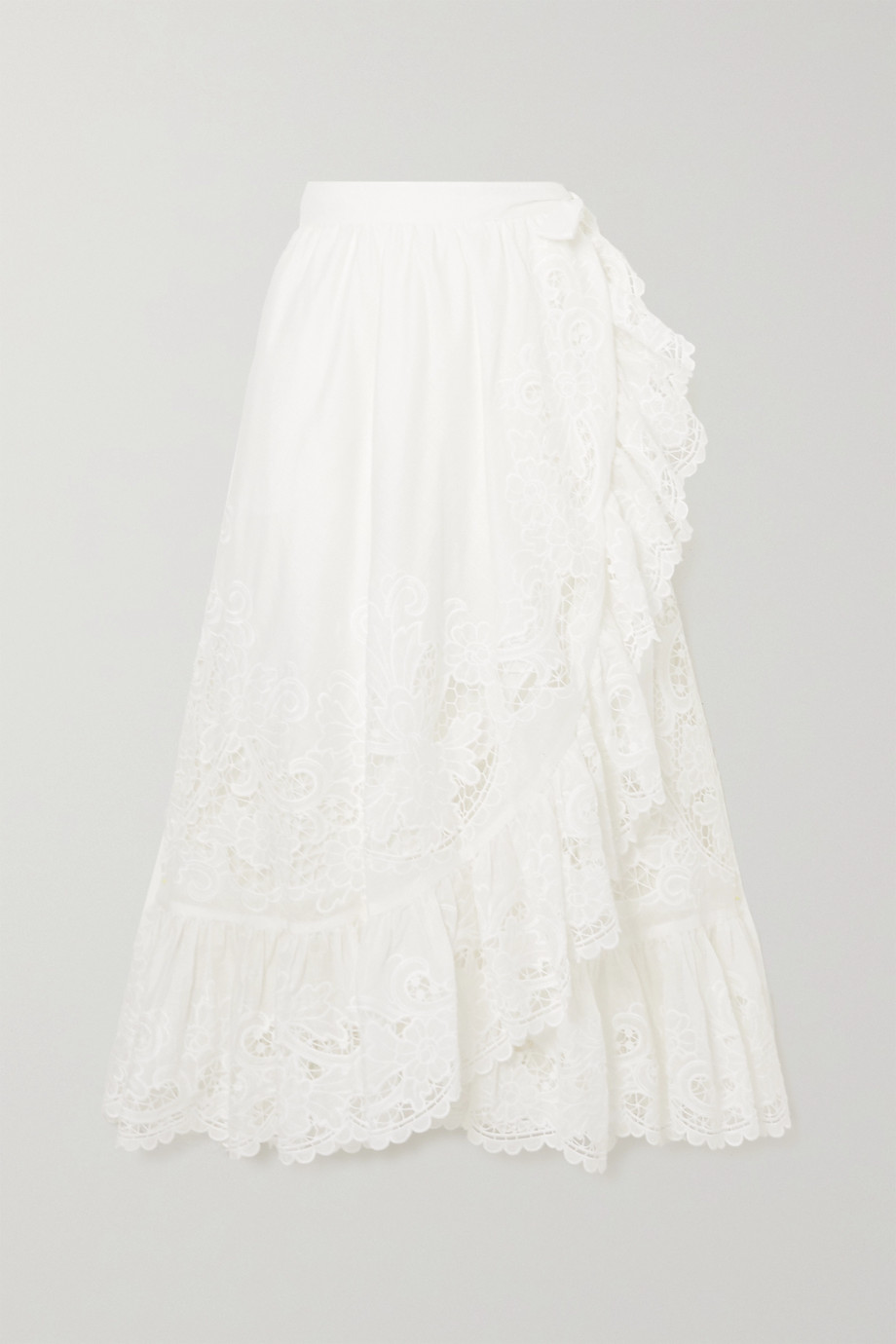 Zimmermann Lulu asymmetric ruffled broderie anglaise cotton wrap skirt