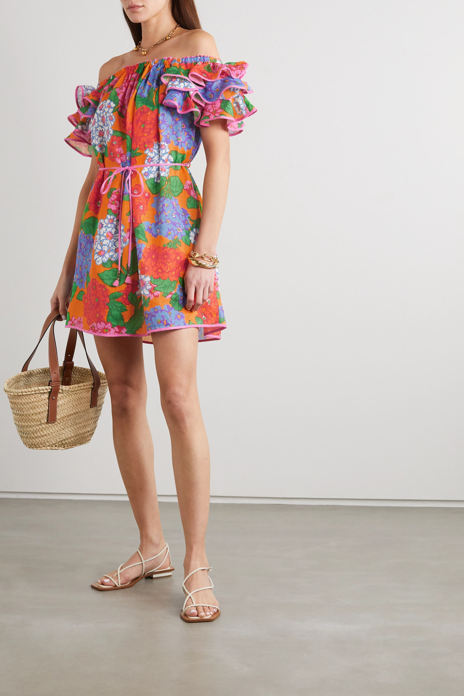Zimmermann Riders off-the-shoulder ruffled floral-print linen mini dress