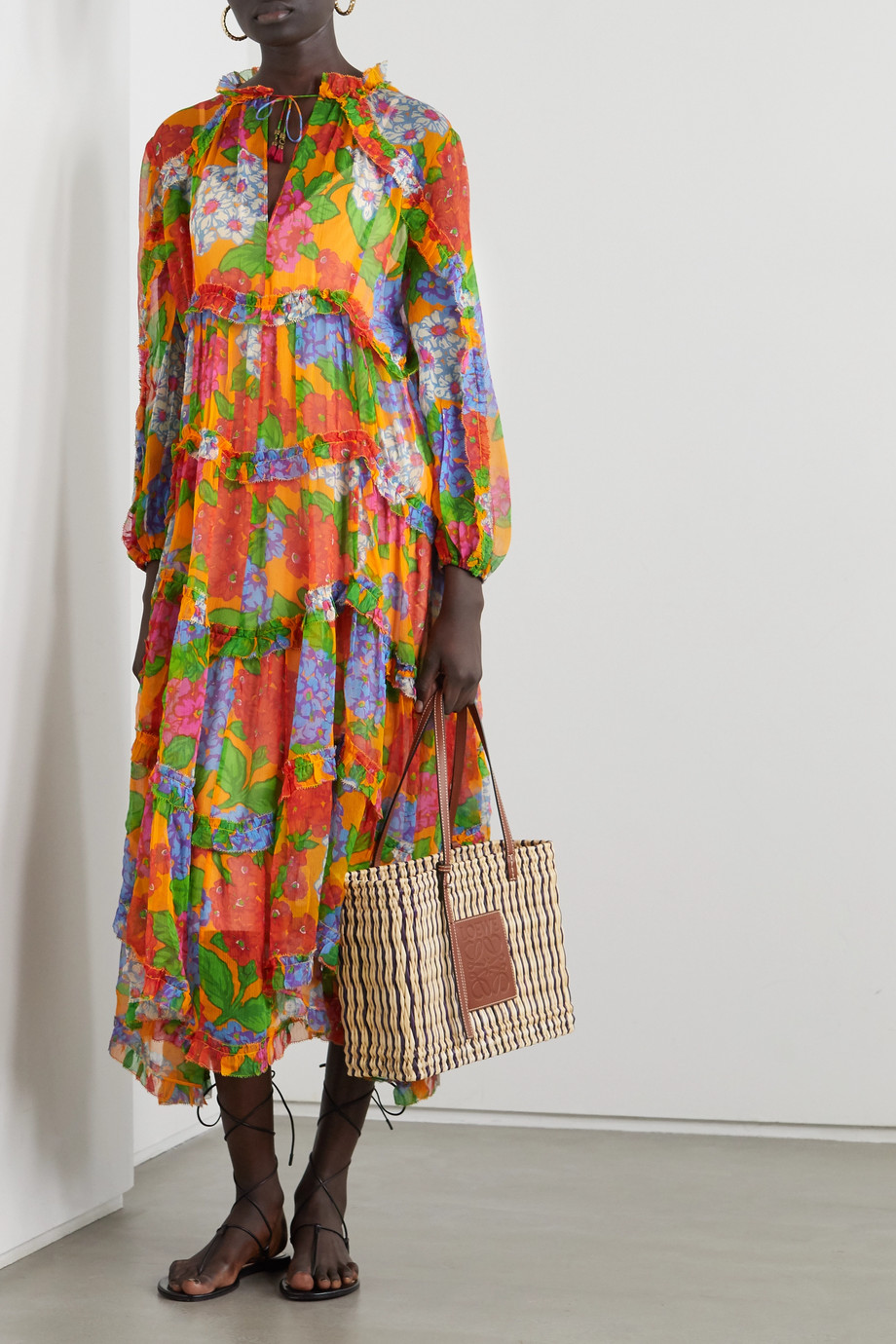 Zimmermann Riders ruffled tiered floral-print silk-crepon midi dress