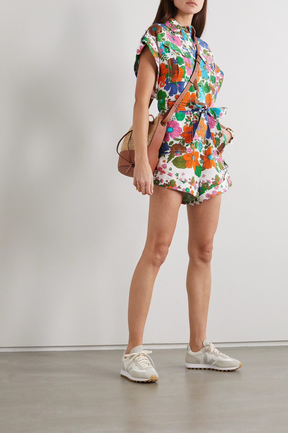 Zimmermann Riders belted floral-print linen playsuit