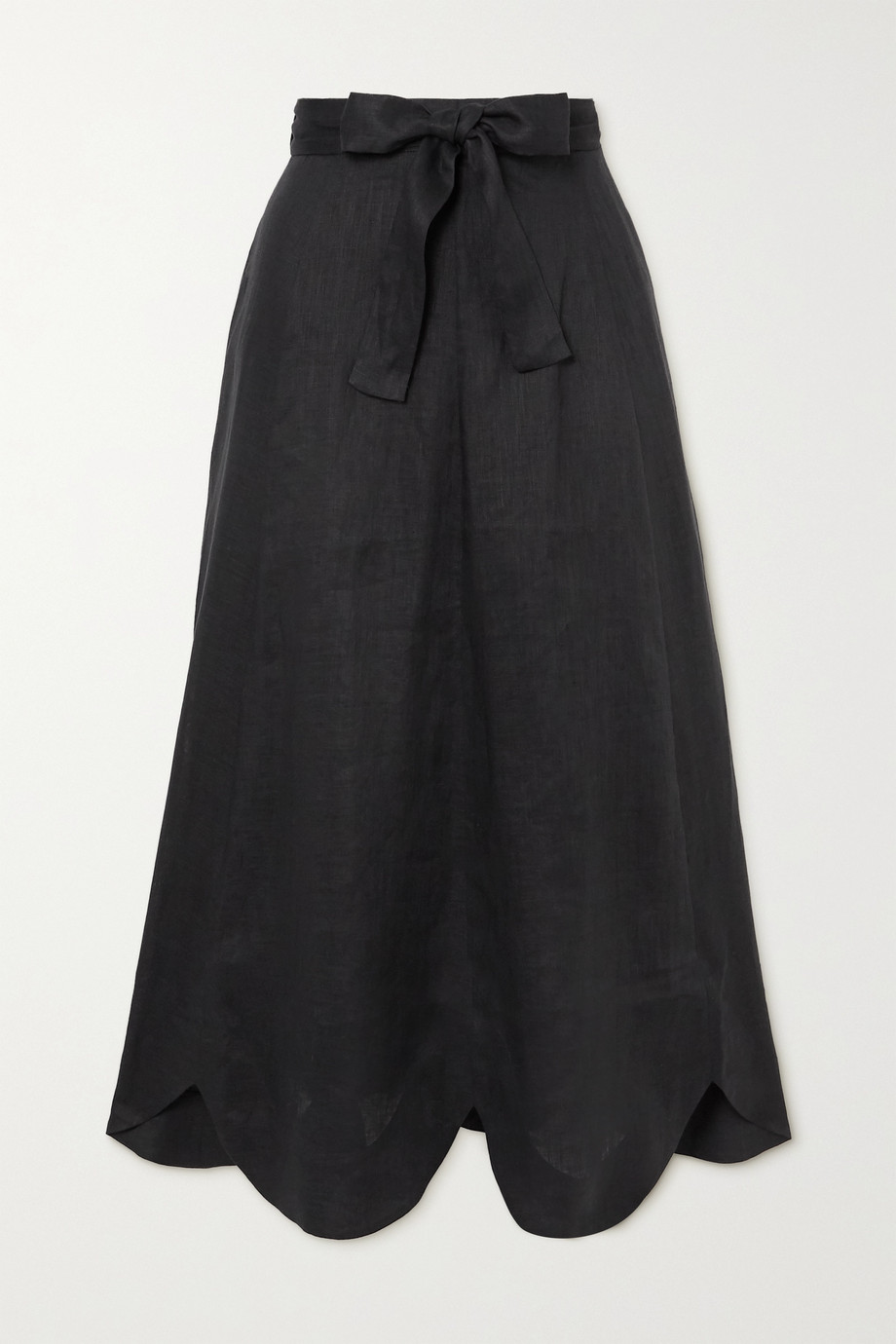 Zimmermann Riders belted scalloped linen midi skirt