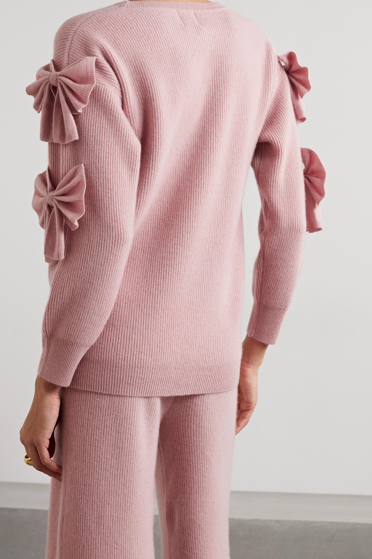 Madeleine Thompson Pretty Woman Pullover aus geripptem Kaschmir mit Schleifen