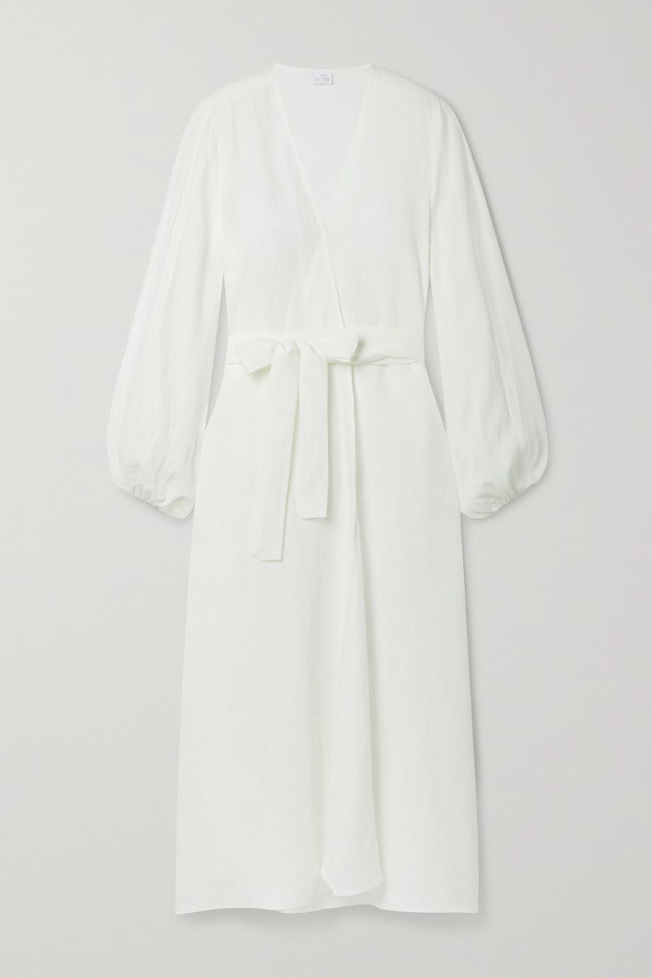 Pour Les Femmes Robe portefeuille en lin à ceinture