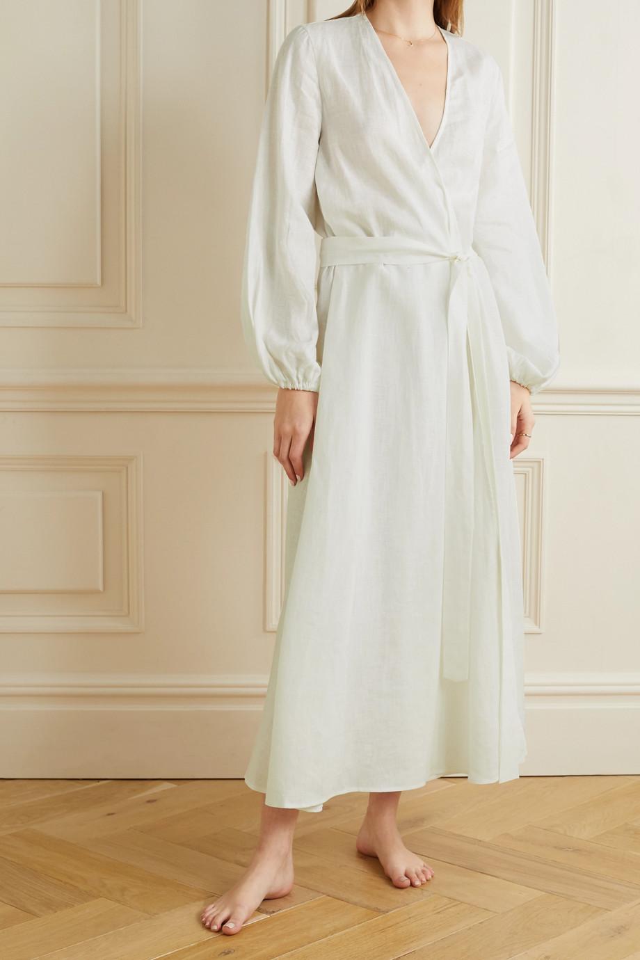 Pour Les Femmes Belted linen wrap dress