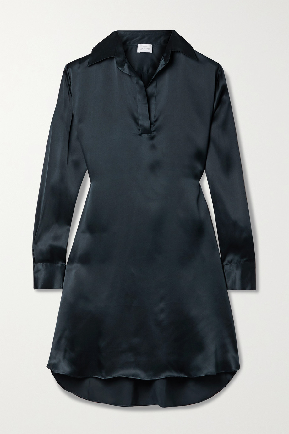 Pour Les Femmes Silk-charmeuse mini shirt dress