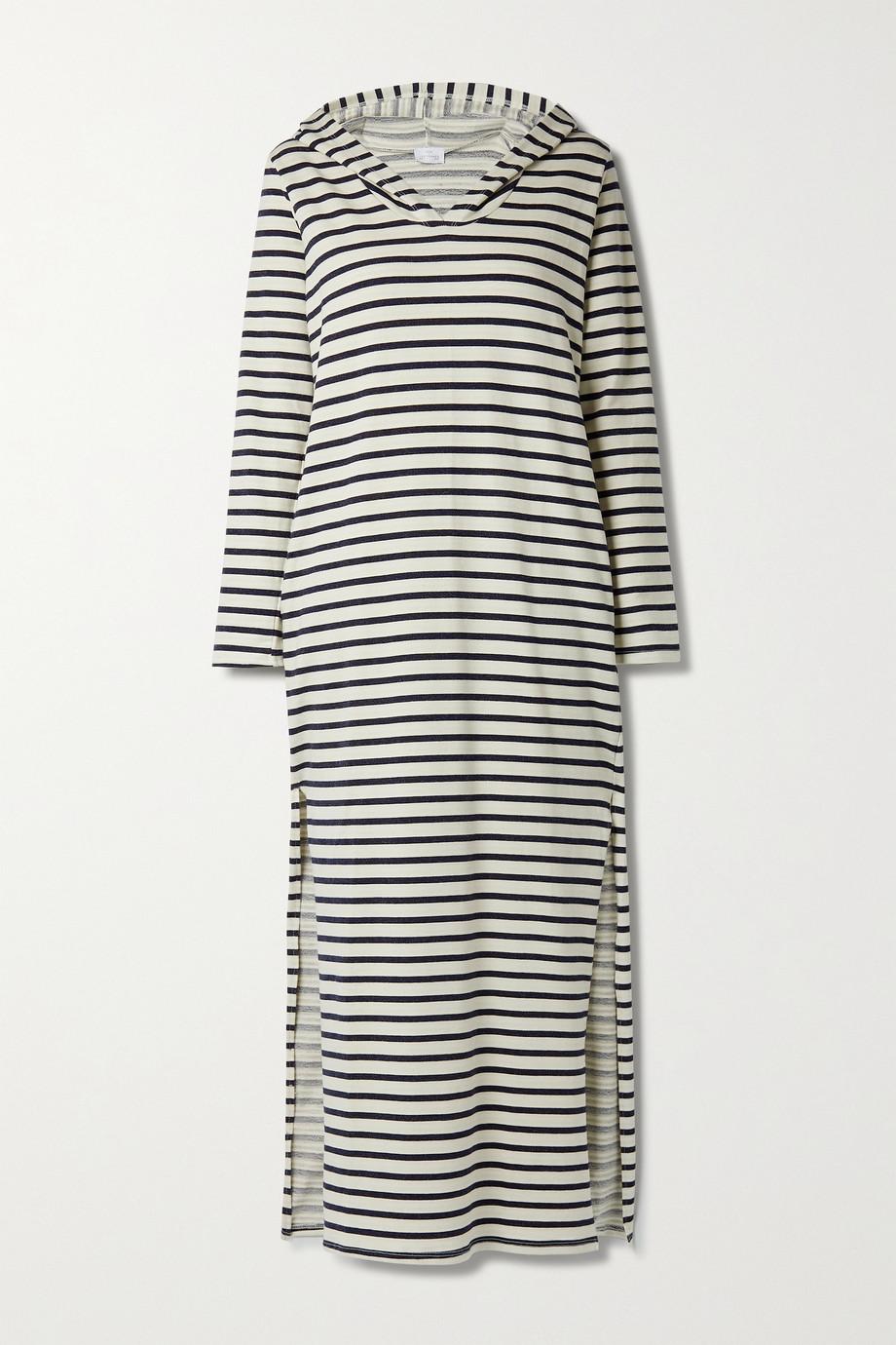 Pour Les Femmes Gestreiftes Nachthemd aus Jersey aus einer Baumwollmischung mit Kapuze