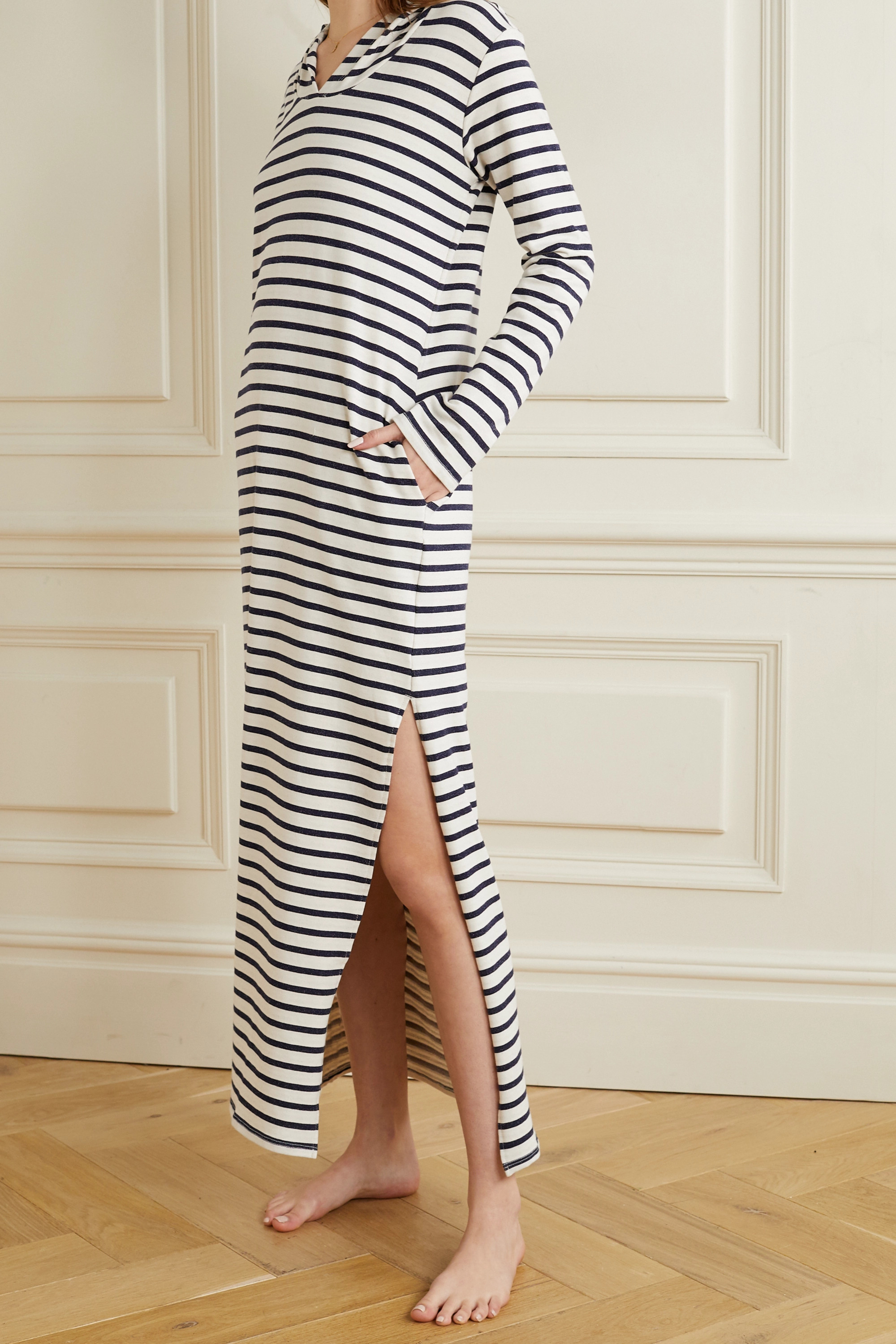 Pour Les Femmes Hooded striped cotton-blend jersey nightdress