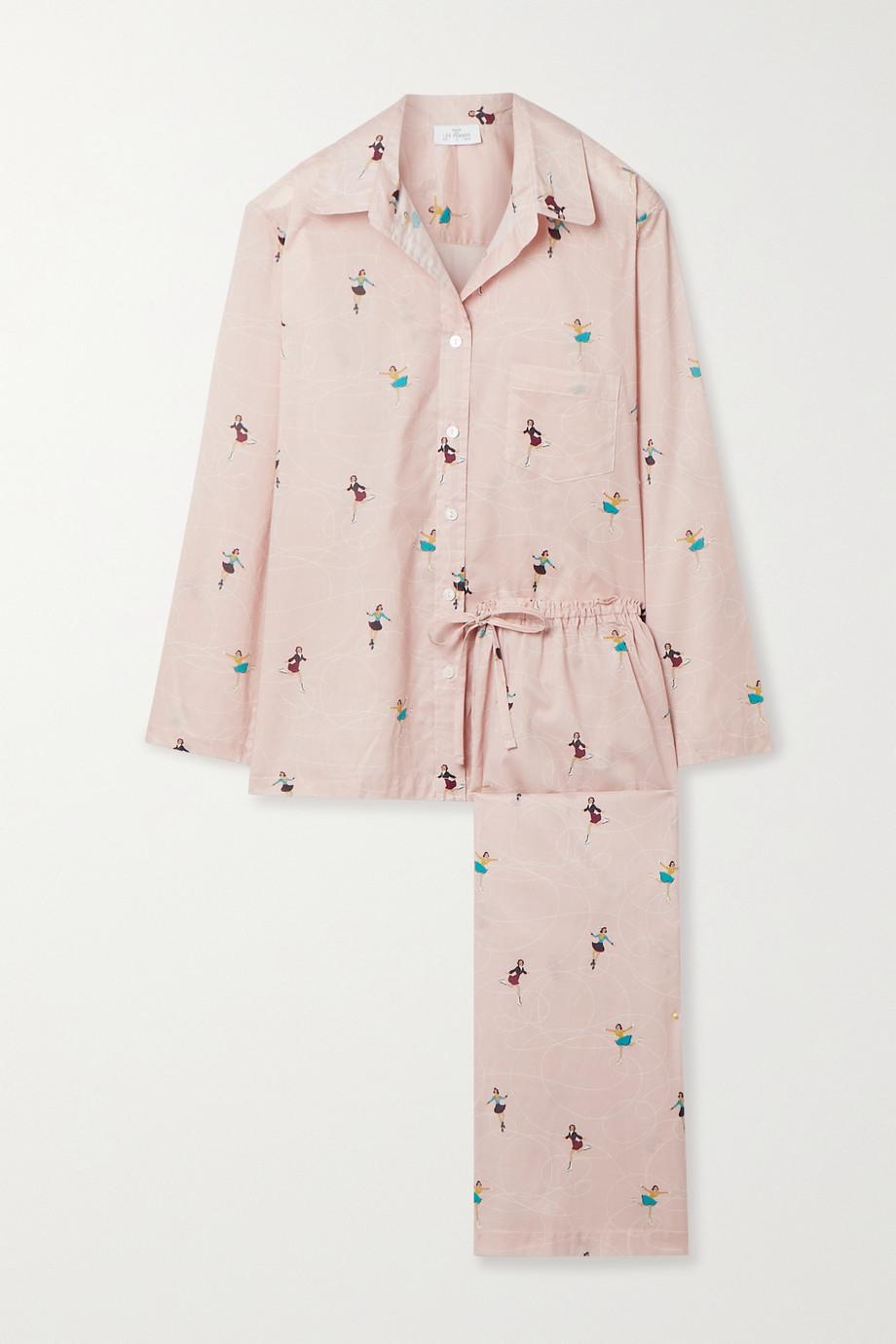 Pour Les Femmes Printed cotton-voile pajama set