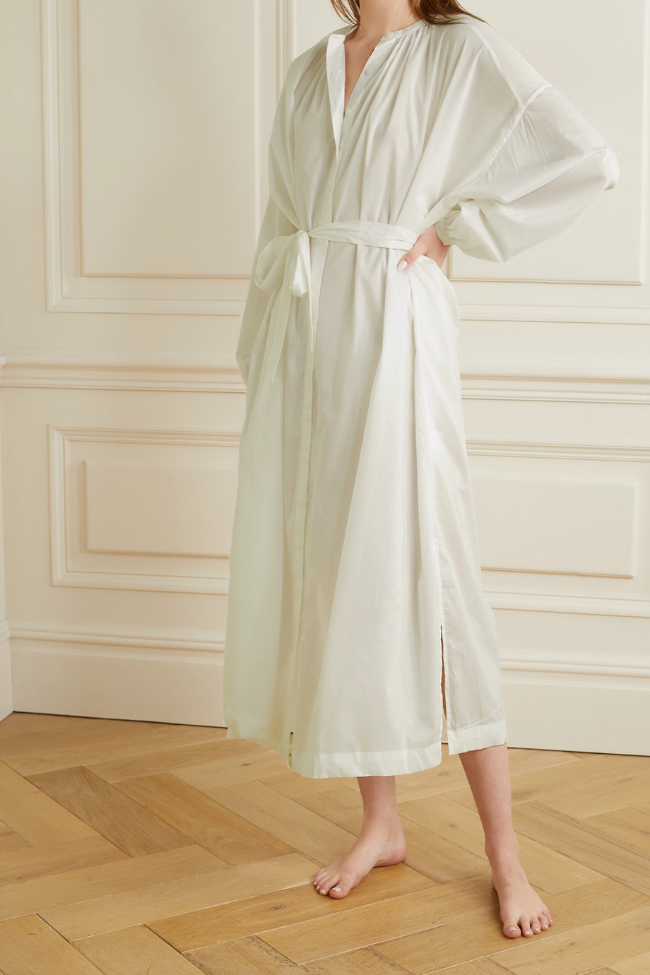 Pour Les Femmes Mona belted cotton-voile nightdress