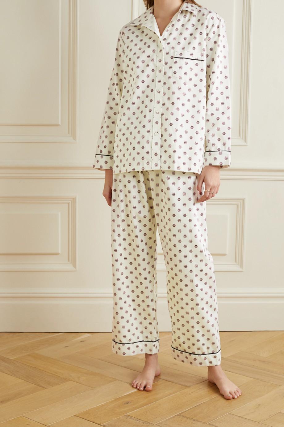 Pour Les Femmes Pyjama aus bedruckter Baumwolle mit Paspeln